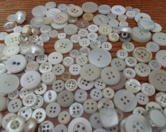 300 Vintage White Buttons White Buttons Mix Variety of Buttons White Buttons Sewing Buttons Button Lot