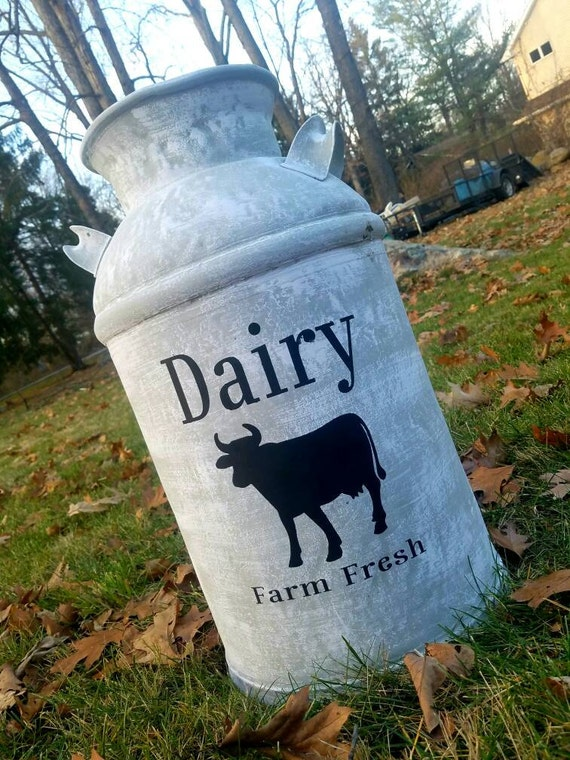 Refinished Vintage Milk Can. Farmhouse style statement piece. Truly unique one-of-a-kind decor. Would look great on front porch or, in house