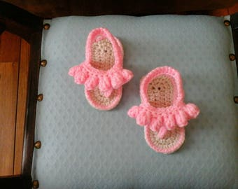 Crochet Baby Sandals, Popcorn Stitch, Available in: Pink, Yellow, Green, Purple
