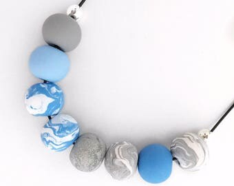 Handmade polymer clay bead necklace - Blue, Grey, and White