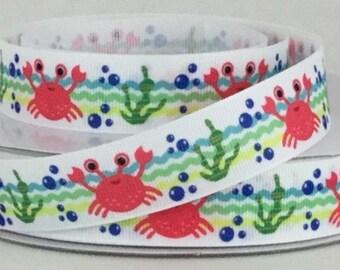 """Crab Ribbon - Sea Life - Nautical - 7/8"""" Printed Grosgrain Ribbon"""