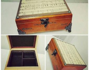 Vintage music sheet men valet / women jewelry box
