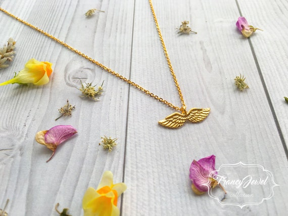 Gold angel necklace, dainty angel necklace, angel wing jewelry, memorial necklace, bridesmaid gift, wedding gift, bridal jewelry, birthday
