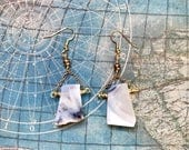 White Agate drop earrings for Julie