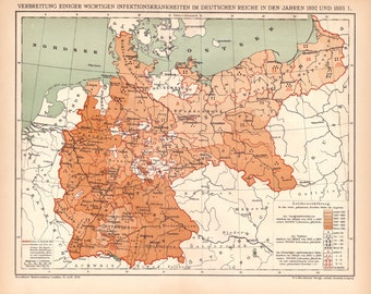 Antique Map of Germany from 1890, Germany, German Map, Gold Map, Bronze Map, World Maps, Vintage Maps, Antique Maps, Original Maps, Maps,