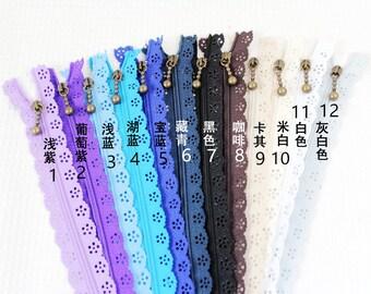 5pcs 20 cm nylon lace Zippers, Scollaped Trim Zippers