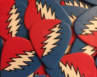 3 Lightning Bolt Guitar Pick - Grateful Dead