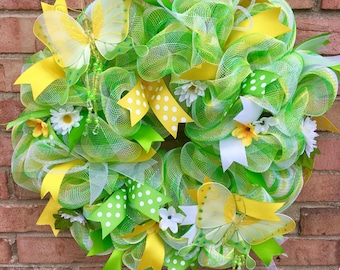 Summer Door Wreath, Butterfly Welcome Wreath, Flower Wreath, Summer Wreath, Summer Mesh Wreath, Spring Decoration, Spring Flowers