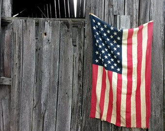 Vintage 50 State Cotton American Flag Farmhouse Flag Decor