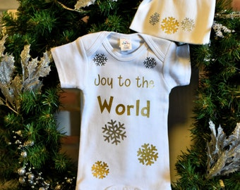 Christmas Baby Clothes-Christmas Baby-Holiday Baby Clothes-Holiday Baby-Christmas Baby Clothes Set-Joy to the World Design