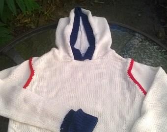 Long Sleeve Knit Vintage Hoodie for Girl - 1980s Kmart Original!