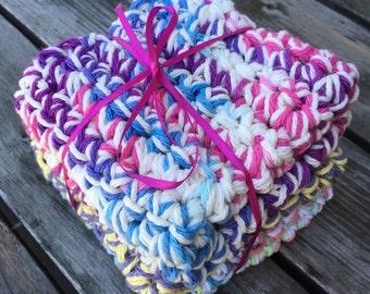 Handmade Crochet Dishcloths, Grab Bag Set of 3 Dishcloths.