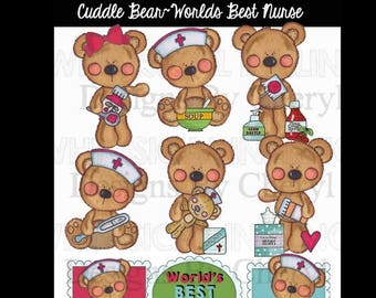 Cuddle Bears Best Nurse clipart for planner stickers personal and small commercial use ok