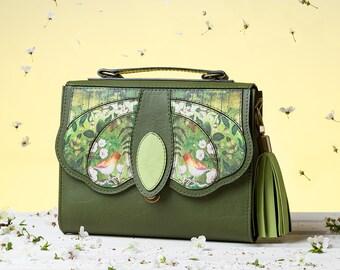 Blossom Crossbody Bag   Handmade, Eco Leather Bag, Bag with Birds Print, Olive Green Bag, Flowers Print, Summer Purse