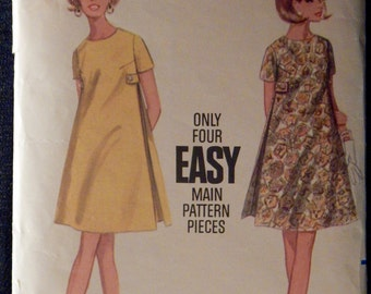 Vintage Maternity One-Piece Dress Butterick 4722 Size 12 Retro 1960's