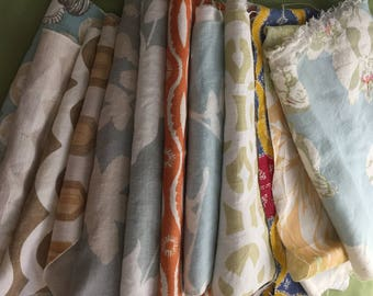 Sale 50% off! Amazing Lot of RAOUL Belgium Linen Hand-Printed Fabric Remnants (16)