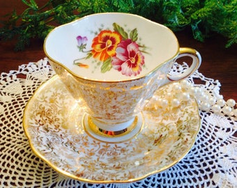 Windsor bone china gold chintz teacup and saucer with pansies
