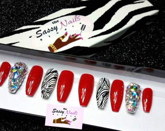 Sassy Glue On Nails: Bold Red Zebra and Ballerina Shaped Nails With A Full Sparkling Bling Nail press on nails, custom nails, fake nails