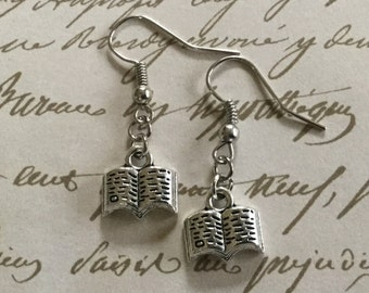 Tiny Silver Book Earrings / Gift for Book Lovers and Anyone who Loves to Read