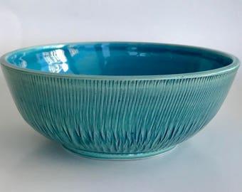 "Green Blue Ceramic 8 1/2"" Serving Bowl"