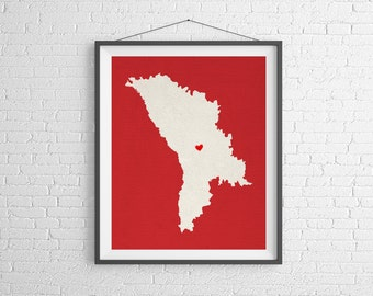 Custom Moldova Silhouette, Customized Country Map Art, Personalized Moldova Art, Heart Map Print, Home Country Moldova Map, New Home Gift