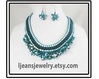 Crochet Turquoise Beaded Necklace and Earring Set