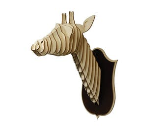 Wooden Giraffe Head Trophy, Birch Wood Giraffe Head, Wood Wall Art, Home Decor Animal Art