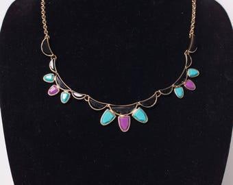 80s Vintage Adjustable Bib Statement Necklace Gold Black Purple Turquoise Blue Fashion Jewelry