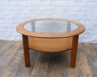 G Plan Mid Century Round Wooden Teak Glass Coffee Table