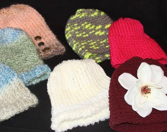 assorded beanies; white, electric green strip, hot pink, burgandy with white flower and peach ombre