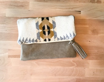 Bohemian Print Foldover Zipper Clutch - Boho Chic, Tan, Leather