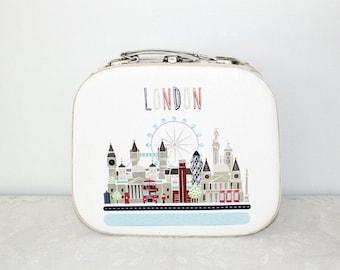 Nostalgic case, small suitcases, wooden case, retro suitcase, scene London, Ferris wheel