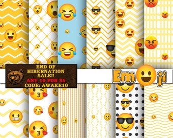 Emoji digital paper, emoticon, digital paper, digital download, scrapbook, background