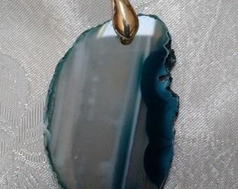Blue agate slice pendent