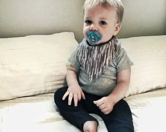Grey Bandanna Bib-Baby Bandana Bib-Striped Bandanna Bib-Grey Stripe Bandana Bib-Baby Drool Bib