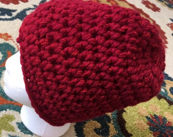 Sparkly Red Hat // Crocheted // Handmade