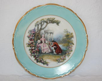 Ardalt Bavarian, Gilded Edge, Courting Scene Plate