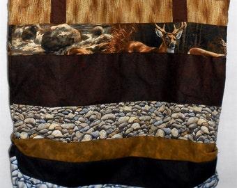 Small Deer Bag/purse - lightweight -2 layers of cotton/strip bag/Deer/wildlife/rock/wood prints (#O97)
