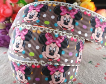 """Minnie Mouse Grosgrain 1"""" Printed Ribbon, Minnie Mouse"""