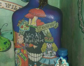 "Alice in Wonderland Decoupage Display Bottle & tiny ""drink me"" bottle."