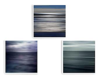 Ocean Wall Art, Coastal Decor, Abstract Sea Art, Set 3 Prints, Tranquility Art, Square Art Prints, Wave Art Print, Pastel Wall Art, Zen Art