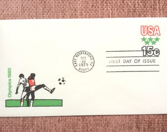 Olympics 1980 Soccer First Day Issue US Postage Stamp Stamped Envelope FDC 1979 East Rutherford NJ