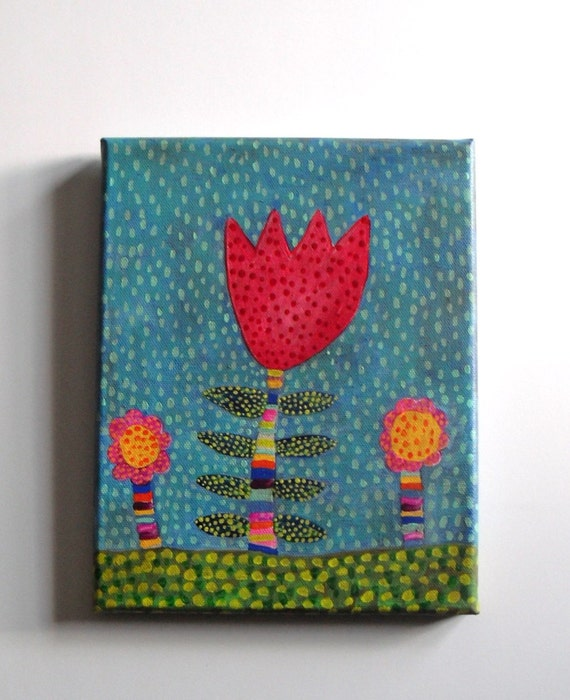 """rainy day in the garden-original folk art painting-8"""" x 10"""" ready to hang"""