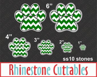 Paw Print SVG, DXF, EPS, Rhinestone template, Vector, Digital Cut File