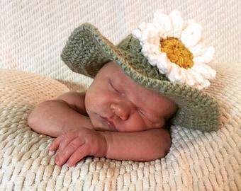 Newborn Sunhat - Daisy, Newborn Crochet Hat, Newborn Photoshoot, Baby Crochet Hat, Newborn Crochet Outfit, Baby Shower Gift, Newborn Hat