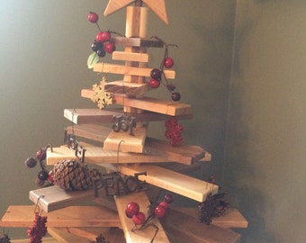 Wooden Christmas tree with moveable, rotating slats