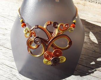 Orange, yellow and Brown aluminum wire necklace