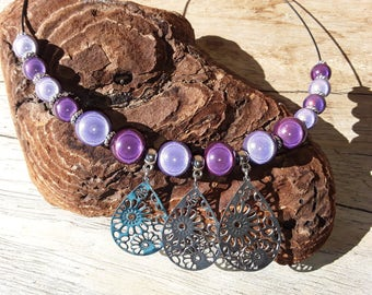 Set necklace and earrings in purple and violet Pearl