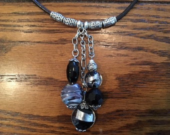 Lampworked Glass Bead Pendant Necklace on Black Leather Cord