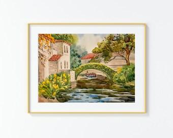 Original Watercolor Painting,Watercolor Painting,landscape,San Antonio,River walk,River,River taxi,bridge, 11x 16 inches,cityscape